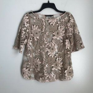 Zara Woman Beige Sequin Embellished Lace Blouse
